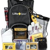 Life Gear LG492 Emergency Survival Kit Backpack w/Emergency Gear & First Aid Kit