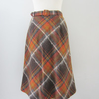 70s Rust Plaid Mohair and Wool Skirt by Tuomi Tuote, S / W26 W27 // Vintage Belted Lined Winter Skirt // A-lined Back To School Skirt