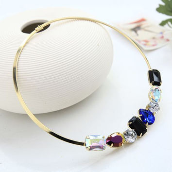 Colored Crystal Collar Necklace