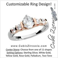 Cubic Zirconia Engagement Ring- The Xia (Customizable 5-stone with Two-tone Option)