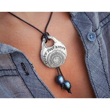 Follow Your Heart Leather & Pearl Necklace