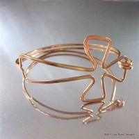 Artisan Made Sculptured Bare Copper Cross Bangle