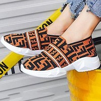 FENDI Fashion Women Breathable Knit Running Sport Shoes Sneakers Brown
