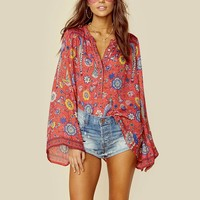 HIPPIE CHICK FLARE SLEEVES TOP