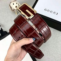 GUCCI Newest Trending Men Casual Smooth Buckle Belt Leather Belt Coffee