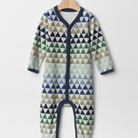 Gap Geometric Fair Isle Velour Footed One Piece