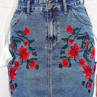Glamorous Tall Denim Aline Skirt With Floral Embroidery
