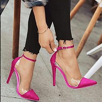 Platform Ankle Leather Sexy Close Toe Pumps
