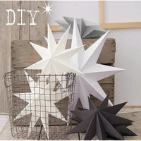 New 1Pcs 30cm 6'' Nine Angles Paper Star Decoration Tissue Paper Star Lantern Hanging Stars For Christmas Party Decoration 171122