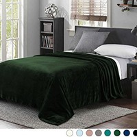 """Luxury Queen Size Flannel Velvet Plush Solid Bed Blanket (90"""" x 90"""", Forest Green) - Soft, Lightweight, Warm and Cozy by Exclusivo Mezcla"""