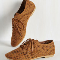 Picture Perforate Flat in Cinnamon | Mod Retro Vintage Flats | ModCloth.com