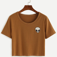 Khaki Alien Print Crop T-shirt