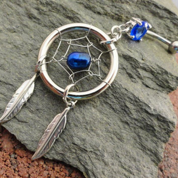 Sapphire Blue Dream Catcher Belly Button Ring by MidnightsMojo