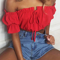 Red Off Shoulder Tie Front Crop Top