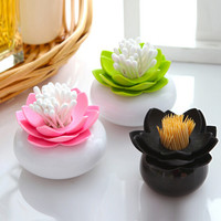New Plastic Lotus Cotton Swab Box Cotton Bud Holder Lotus Toothpicks Holder Toothpick Case Novelty Households Plastic Organizer