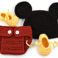 Mickey Mouse Inspired Crochet Newborn Set // Baby Photo Prop // Mickey Mouse Hat, Diaper Cover, Booties Set