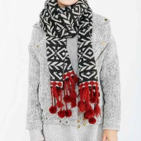 Pom Fringe Geo Scarf- Red Multi One