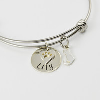 Adjustable Bangle Bracelet with Pets Name and Cat Charm