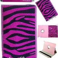 PINK ZEBRA Ipad Mini Jersey Bling® Crystal & Rhinestone Leather Folio with 360 Rotating Case Cover Protector