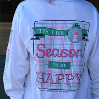Tis the Season to be Happy Long Sleeve Tee {White}