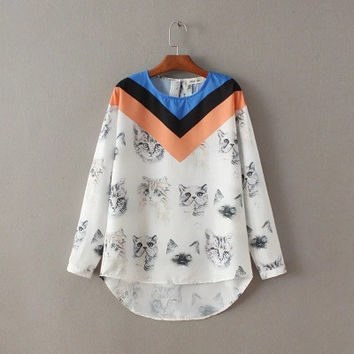 2016 Trending Fashion Floral Printed Mixed Color Women Sports Hoodies Long Sleeve V Neck Shirt Blouse _ 9710