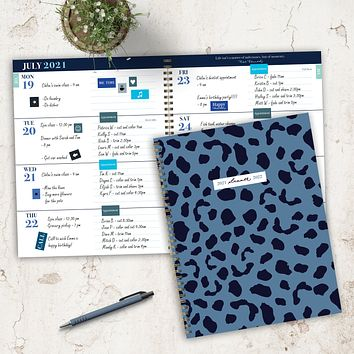 July 2021-June 2022 Blue Cheetah Large Daily Weekly Monthly Planner + Coordinating Planning Stickers