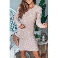 Rose Cable Knit Sweater Short Dress