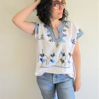 Vintage Mexican South American Blue Green Embroidered Cornstalk Hippie Boho Festival Tunic