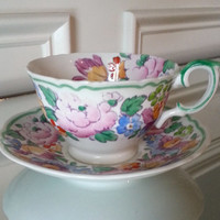 Antique Crown Staffordshire pastel floral tea cup and saucer, English bone china tea set, marked 15277