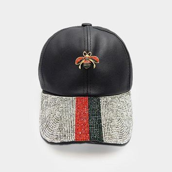 Crystal Embellished Metal Honey Bee Accented Leather Cap (Click For More Colors)