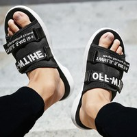Off White More Letters Two Line Men Slippers B-CSXY  Black+white word