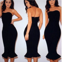 Black Mermaid Cocktail Dresses Sweetheart Sleeveless Prom Party Cocktail Dress = 5739038593