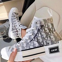 Dior Women Men Sneakers transparent plastic High Top Shoes White+Black Letters