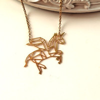Golden flying Unicorn necklace fantasy filigree geometric