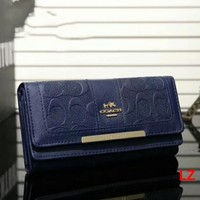 COACH Zipper Women Leather Purse Wallet Dark blue I-LLBPFSH