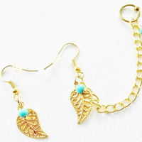 Gold hollow leaf turquoise stones captive ring, cartilage helix earrings