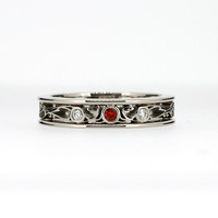 red sapphire filigree ring, white gold, Diamond, filigree, wedding band, red, filigree wedding ring, red wedding, unique, sapphire wedding