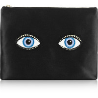 Charlotte Olympia - Glance Alot embroidered satin pouch