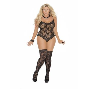 Plus Size Lace Teddy and Stocking Set