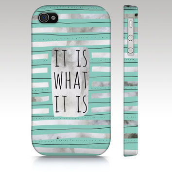 iPhone case, iPhone 4s case, iPhone 5 case, quote, typography, it is what it is, watercolor hand drawn striped, grey mint art for your phone