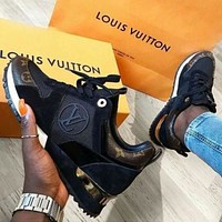 Louis Vuitton LV AAA Women's Color Block Plaid Casual Sneakers Shoes black