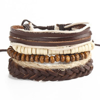 Brown Beads and Leather Woven Bracelets
