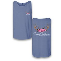 Sassy Frass Comfort Colors Antlers & Roses Bright Girlie Tank Top T Shirt