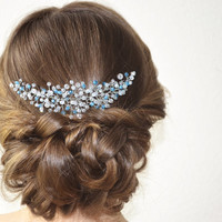Blue Bridal Headpiece, Crystal Wedding Hair Piece, Something Blue Bridal Headpiece, Wedding Hairpiece, Crystal Bridal Hair Piece Bridal Halo