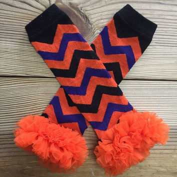 Leg Warmers Purple, Black, & Orange Chiffon Ruffle, Chevron