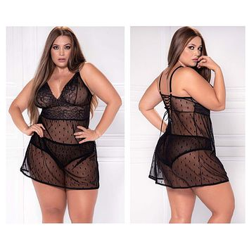 Mapale 8477X Babydoll with Matching G-String  Color Black
