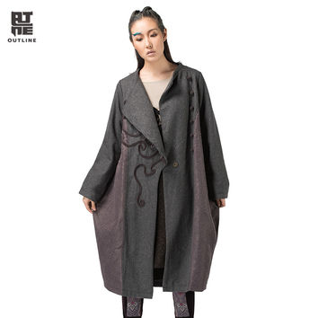 Outline Original Wool Blends Coat for Women Ethic Style Plus Size Loose Long Trench in Embroidery Frog Cocoon Overcoat L133Y026