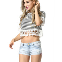 Sexy Stripe Fashion Lace Scoop Neck Short Sleeve Loose blouse top