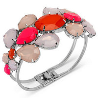 Haskell Bracelet, Silver-Tone Multicolor Acrylic Stone Bangle Bracelet - All Fashion Jewelry - Jewelry & Watches - Macy's