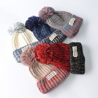 Women Cute Fashion Multicolor Hairball Knit Beanie Hat Winter Accessories